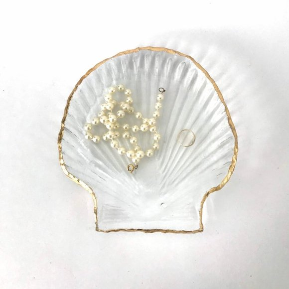 Vintage Glass Seashell Shaped Dish with Gold Rim